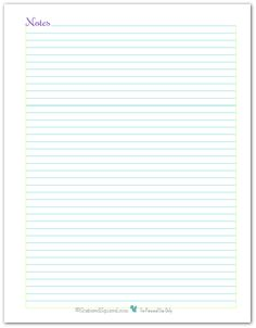 Full Size Note Page printable, is a great addition to a personal planner, journal, home management binder or just used on its own for jotting down your thoughts and ideas.