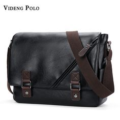 7564dfad0976 VIDENG POLO Brand PU Leather Messenger Bag Black vintga Men s Bags  Crossbody Bags For Men Casual