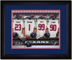 Your Name on a jersey in the Locker Room of your favorite NFL Football team Texans framed poster #TexansJersey