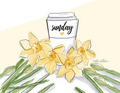 Greeting Cards, Art and Paper Goods by RoseHillDesignStudio Happy Sunday Quotes, Thursday Quotes, Hello Sunday, Sunny Sunday, Hello Weekend, Rose Hill Designs, Positive Art, Girl Sketch, Art Drawings