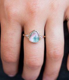 Blue & Pink Tourmaline with Side Diamonds