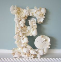 Shell Letter for Beach Decor - Nautical Decor Seashell Wall Letter in Elegant All White, 1pc. $42.00, via Etsy.