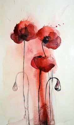 Red Poppies Original abstract watercolor by AlisaAdamsoneArt Abstract Flowers, Abstract Watercolor, Watercolor Illustration, Watercolor Flowers, Watercolor Paintings, Tattoo Watercolor, Poppies Tattoo, Watercolor Pictures, Arte Floral