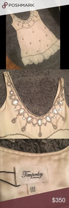 Temperley London Beaded Tank Super cute sheet Overlay top with Beaded Detail. Small stain Temperley London Tops Blouses