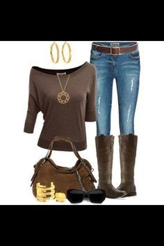 Brown and jeans!