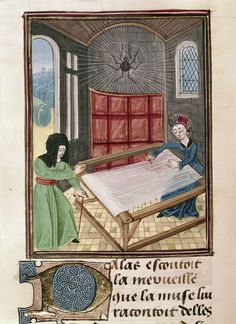 Pallas and Arachne at the loom--Author:Publius Ovidius Naso Title:Metamorphoses, second anonymous French translation (Ovide moralisé) Origin:Netherlands, S. Date:Last quarter of the 15th century Language:French