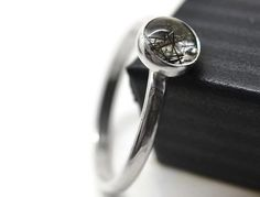 6mm Black Rutile Quartz Ring, Tourmalinated Quartz Jewelry, Minimalist Ring, Artisan Made Ring, Monochrome Jewelry, Gemstone Ring on Etsy, $48.00