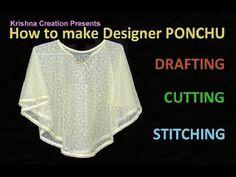 PONCHU - How to make Designer Poncho, English Subtitle डिज़ाइनर पोंचू कैसे बनाये By Krishna Creation - YouTube