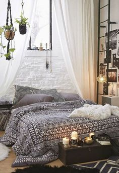Shabby Chic furniture boho style bedroom set up bed bedspread ethnic black white