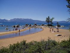 Zephyr Cove at Lake Tahoe - great family vacation spot!  Even for the pups:-)