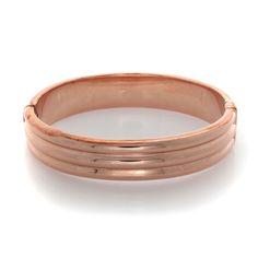 Bronzo Italia Rose Gold Large Polished Ribbed Design Hinged Bangle $300 #BronzoItalia #Bangle