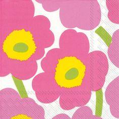 Marimekko Pink Flowers PAPER NAPKINS  Floral by PaperNapkinsShop