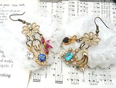 funky drop earrings assemblage mismatch dangle by lilyofthevally
