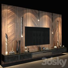 Modern Tv Unit Designs, Modern Tv Units, Cool Designs, Wall Tv, Tv Wall Decor, Interior Design Living Room, Living Room Designs, Lcd Units, Tv Unit Decor
