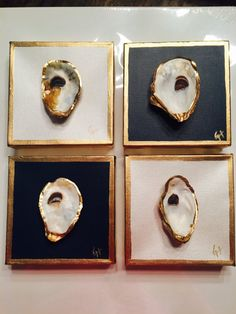Gold or Silver Leafed Oyster Shell on Canvas Christian Oyster Shell Crafts, Oyster Shells, Sea Shells, Oyster Diy, Seashell Crafts, Beach Crafts, Silver Leaf Painting, Stone Painting, Eco Deco