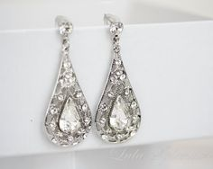 Bridal Earrings, rhinestone chandelier earrings, silver filigree , Teardrop Wedding earrings, Swarovski crystal, wedding jewelry MIER on Etsy, $55.00