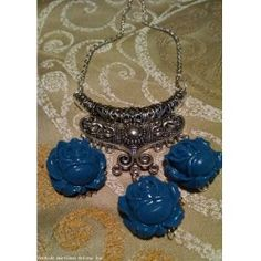 Tranquil Blue Roses Necklace Handmade by Tammy