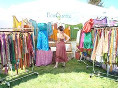 Pretty little craft show booth set up with skirts and dresses displayed