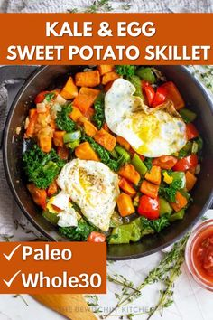 Kale Egg Sweet Potato Skillet is a must make breakfast skillet recipe. Loaded with fresh sweet potatoes, kale, topped with eggs and more. This is a paleo and Whole30 recipe you have to try. #palo #whole30 #kale #egg #sweetpotatoes #breakfast Breakfast For Dinner, Healthy Breakfast Recipes, Brunch Recipes, Breakfast Skillet, Dinner Recipes, Healthy Eating, Egg Recipes, Paleo Recipes, Whole30 Sweet Potato