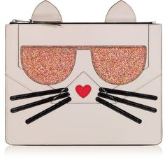 Karl Lagerfeld K/Kocktail Choupette Pouch w/Glitter (€155) ❤ liked on Polyvore featuring bags, handbags, clutches, faux leather handbags, evening handbags, pink purse, glitter handbag and pink handbags