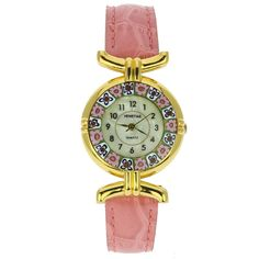Murano Watches | Murano millefiori watch with leather band - pink