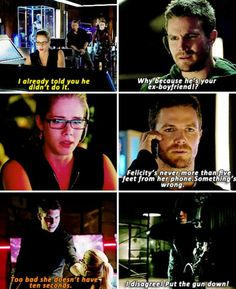Arrow - Oliver and Felicity Arrow Cw, Team Arrow, Supergirl Dc, Supergirl And Flash, Arrow Oliver And Felicity, Dinah Laurel Lance, Stephen Amell Arrow, Dc Tv Shows, Fantasy Tv