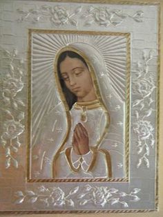 Virgen De Guadalupe - I bought one just like this in Mexico Catholic Art, Religious Art, Tin Foil Art, Mary Tattoo, Metal Embossing, Mama Mary, Holy Mary, Islamic Art Calligraphy, Blessed Virgin Mary