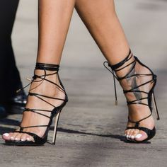 Casual Black Stripped Shoes With Golden Heel #blackhighheelsstrappy