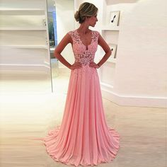 New Arrival Prom Dress Pink Prom dresses elegant chiffon lace long prom  dresses ball gowns evening dresses 0920e89f3122