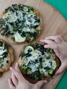 Green Machine Pizza from Weelicious - spinach, broccoli, zucchini, pesto