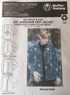 A collection of patterns dubbed World's Easiest because of making them could not be easier. Either a single pattern piece or very few pieces that are easy to put together. Knit Jacket, Learn To Sew, Buttonholes, Sewing Projects, Sewing Patterns, Men Casual, One Piece, Knitting, Easy
