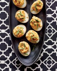 Sriracha & Wasabi Deviled Eggs -   INGREDIENTS:  1 dozen large eggs  2 cups soy sauce  1/2 cup sake  10 star anise pods  1/2 cup chopped scallions  1/4 cup sugar  1/4 cup coarsely grated peeled fresh ginger  1/4 cup plus 1 tablespoon mayonnaise  1 tablespoon Sriracha  2 1/4 teaspoons wasabi paste  1/4 cup snipped chives  Pinch of Chinese five-spice powder
