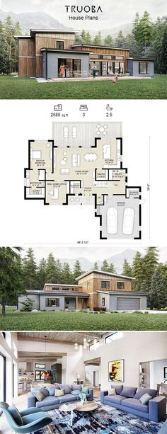 This house is awesomeness Truoba 118 House Plan 2585 sq ft Layouts Casa, House Layouts, Sims 4 Houses Layout, Home Modern, Modern House Design, House Design Plans, Small Contemporary House Plans, Contemporary Houses, Best House Plans
