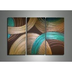 Canvas Oil Paintings Textured Abstract Circles Canvas Oil Painting | 3 Panel | 210 - HYGGE ARTWORKS