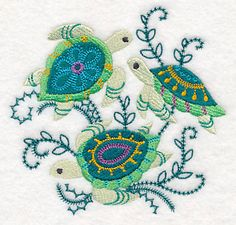Sea Life Scenes - Turtles design (M14049) from www.Emblibrary.com
