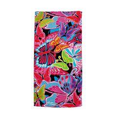 Colorful Butterfly Collage Cotton Beach Towel