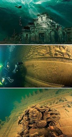 Underwater ancient city Qiandao (Thousand Island ) lake , China. Underwater ancient city Qiandao (Thousand Island ) lake , China. Places Around The World, Oh The Places You'll Go, Places To Travel, Places To Visit, Around The Worlds, Ancient City, Ancient Ruins, Ancient History, Ancient Mysteries