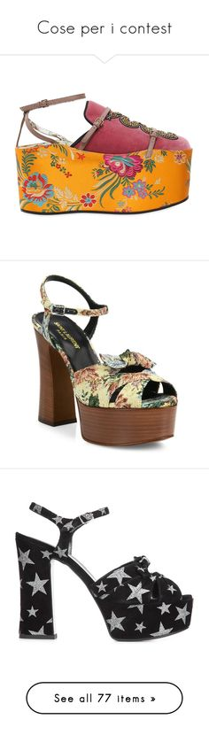 """""""Cose per i contest"""" by banhary ❤ liked on Polyvore featuring shoes, wedges, gucci, wedge heeled shoes, wedge mules shoes, leather sole shoes, wedge mules, sandals, ankle strap sandals and peep toe shoes"""