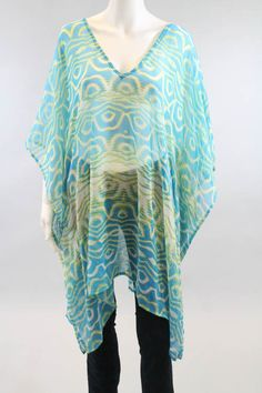 ECHO Blue Green White Printed V Neck Dolman Sleeves Tunic One Size #Echo #Tunic #Casual only $20