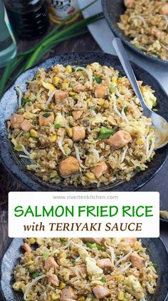 This easy salmon fried rice uses homemade teriyaki sauce for its seasoning. Made of classic Japanese ingredients. It is sweet, fragrant and savory and goes so well with the fish and rice. Salmon Recipes, Rice Recipes, Seafood Recipes, Asian Recipes, Cooking Recipes, Ethnic Recipes, Filipino Recipes, Dinner Recipes, Soup Recipes