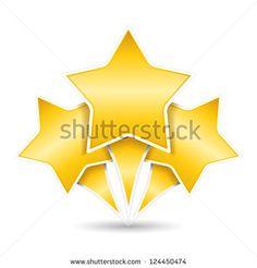 Three golden stars, design elements for your logo, vector eps10 illustration - stock vector