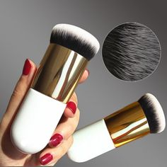 Chubby Pier Foundation Brush Flat Cream Makeup Brushes Pro Cosmetic Brushes   makeupbrushescheap Bb Cream Makeup ef1806b363c3f