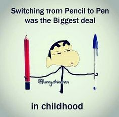 I was very proud of that nd thought i m grown up when i started using pen in class😂 Funny School Jokes, Some Funny Jokes, Crazy Funny Memes, School Humor, Funny Facts, True Facts, Childhood Memories Quotes, School Memories, School Days