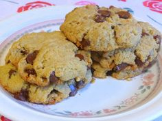 COCONUT OIL CHOCOLATE CHIP COOKIES     These very large cookies have a fantastic texture straight out of the refrigerator! I love...