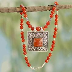Carnelian pendant necklace, 'Mughal Fire' - Carnelian and Sterling Silver Necklace Indian Jewelry