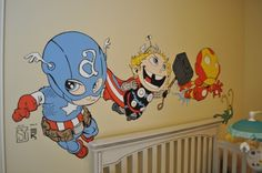Avengers Babies Mural: I decided to feature the big 3 from the Avengers: Captain America, Thor, and Iron Man (art by Skottie Young)