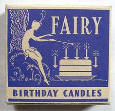 1950 Vintage Unused Box of Fairy Birthday Candles, Fairy, Cake Silhouette, Mint Condition Fairy Birthday, It's Your Birthday, Free Birthday, Birthday Greetings, Birthday Wishes, Birthday Bash, Birthday Celebration, Yellow Candles, Rhapsody In Blue