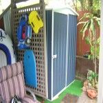 I was given an ultimation by my wife and daughter to clean up the back yard, find a place for the pool chemicals equipment and garden tools as it was dangerious for the grandchildren. Cheap Sheds, Pool Chemicals, Outdoor Furniture, Outdoor Decor, Garden Tools, Locker Storage, David, Backyard, Outdoor Structures