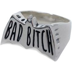 Social Decay The Bad Bitch Ring in Silver Polished ($160) ❤ liked on Polyvore featuring jewelry, rings, accessories, silver, engraved rings, silver jewellery, polish rings, engraved silver jewelry and engraved jewelry