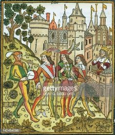 Enemies are asking the King for access to the city, from De Civitate Dei (The City of God) by Augustine of Hippo, French incunabulum from the workshop of Abbeville, 1486-1487.